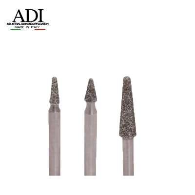 Frese Diamantate Elettrodepositate conica testa raggiata gambo 6 mm